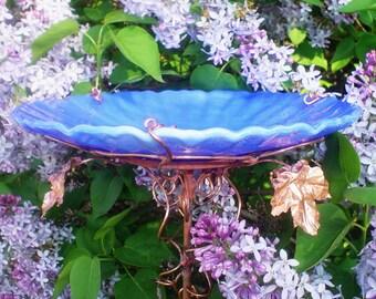 """BLUE GARDEN Gift, Bird Bath, stained glass, copper art, 8"""" diameter, Cerulean Blue, Home Decor, Outdoor"""