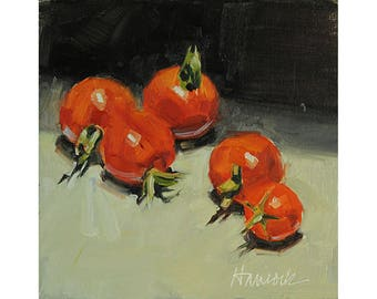 Five Red Cherry Tomatoes, Kitchen Art Summer Vegetables