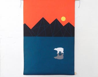 Polar bear, fabric, wall hanging, Ellen Giggenbach