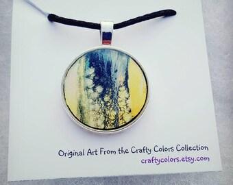 Mini Painting Pendant Original Abstract Art Wearable Art Necklace 3376