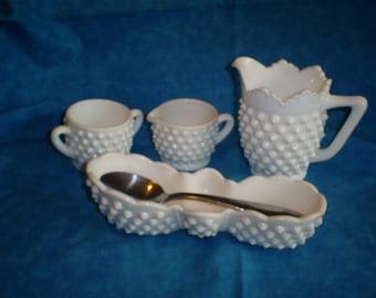 4 Piece set of  Vintage Fenton Milk Glass Spoon Holder, Creamer and Sugar and Pitcher (Creamer).