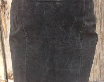 90s vintage suede pencil skirt
