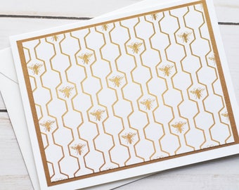 Sweet Honey Bee Note Cards // Set of 6 // Blank Cards // Thank You Notes // Just Because // Gold Foil Stationary