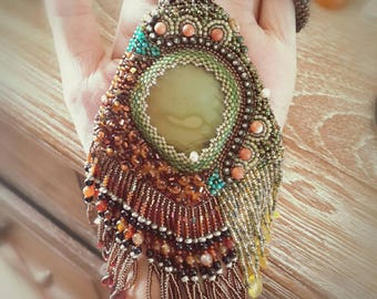 Woodland brown green seed beads Embroidery Necklace