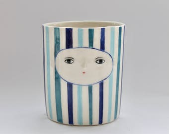 Blue stripped porcelain vase - Cache pot - Container