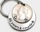 Mens Personalized Anniversary Gift, Personalized KeyChain, Hand Stamped KeyChain, 25 Years & Counting, 25th Anniversary Gift For Men