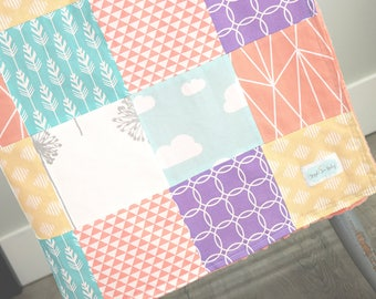 Baby Girl Blanket, Coral, Purple, Yellow, Grey, Teal, Mint, Floral, Clouds, Nursery Decor, Patchwork Minky Quilt, Baby Girl Bedding