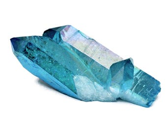 Aqua Aura Crystal Point (51mm x 22mm x 14mm) - Crystal Cluster Stone - Raw Stone - Energy Crystal - Blue Aura - Double Point Aura