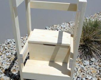 personalized storage step stool lavendar abd beige emma. Black Bedroom Furniture Sets. Home Design Ideas