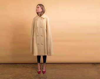 60s Wool Mod Cape / Cape Coat / Wool Coat / Cream 1960s Coat Δ fits sizes: XS/S/M/L