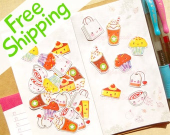 Tea Time Stickers, Shopping Stickers, Food Stickers, Reminder Sticker, Stickers for Planner, Planner Supplies, Sticker Pack, Tea Stickers