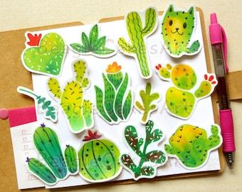 Cactus Stickers, Plants Sticker, Succulent Sticker, Skateboard Sticker, Cacti Stickers, Waterproof Sticker, Planner Sticker, Potten Plants