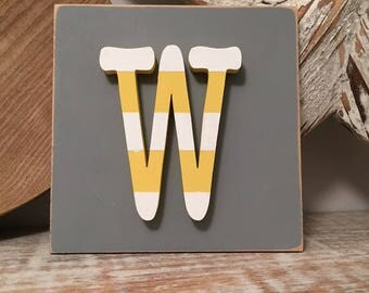 Wooden Letter Blocks, 3D letter, Signs, Letter W, 15cm square, all letters available, rustic finish
