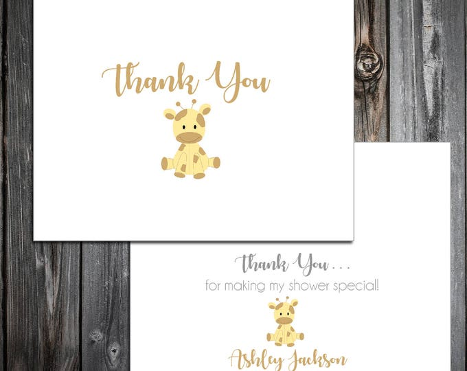 25 GIRAFFE Baby Shower Thank You Notes. Price includes printing.