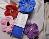 Puffy Velvet fleurs boutons et couleurs assorties