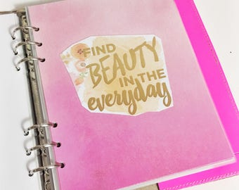 A5 Size Watercolor Find Beauty In The Everyday Quote Dashboard Coral and Pink Floral Laminated Dashboard A5 Filofax Large Kikki k Planner