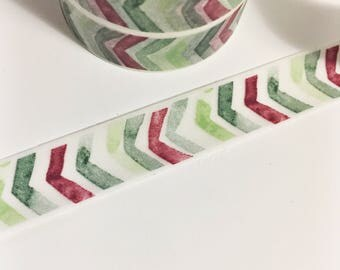Watercolor Chevron Dark Fall Colors Burgundy Forest Green Lime Green Chevron Washi Tape 11 yards 10 meters 15mm