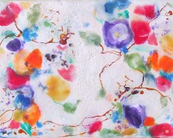 Encaustic Floral Painting - Abstract  Flowers Painting - Original Encaustic Art - Beeswax Art - KlynnsArt