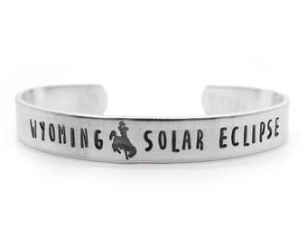 solar eclipse 2017, Hand Stamped Bracelet -  sun, sunshine, solar eclipse jewelry, personalized, wyoming, bucking horse, cuff bracelet