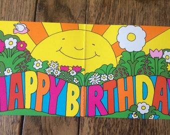 Super Groovy vintage 1970s Happy Birthday Sunshine Snail Card NOS