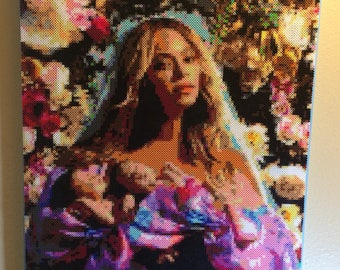 Beyonce and Twins | Beyonce Art | Made from over 25,000 beads