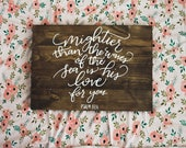 Mightier than the waves of the sea is His love for you sign, bible verse, wall art, custom wood sign, rustic wedding decor, wedding gift