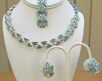 vintage 50s coro enameled aqua blue necklace bracelet earrings set silvertone demi parure set  free shipping