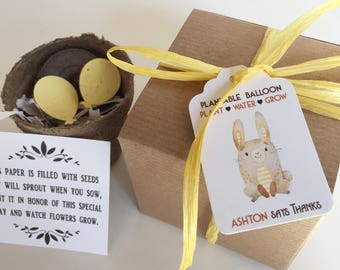 25 Bunny rabbit woodland baby shower favors -  Plantable seed paper favors - Boxed personalized favors - assembly required