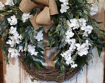 Front Door Wreath, summer wreath, everyday wreath, Burlap Wreath, Door Wreath, wedding wreath, farmhouse wedding