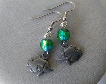 Fish and Foil Glass Earrings