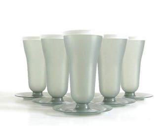 SALE Tupperware Parfait Dishes, Pedestal Dessert Cup Set & Lids, Tall Gray, Complete Set of 6