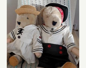 "30% OFF SALE Vtg North American Teddy Bears Vanderbear Family ""All Paws on Deck"" Renaissance Cruises Boy Girl Pair Alice Cornelius Set 1995"