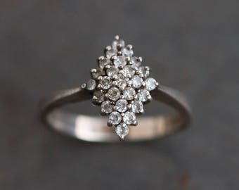 Diamond Shaped Ring - Sterling Silver cz cubic zirconia Cocktail Ring Size 8