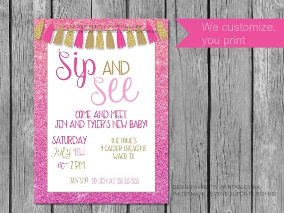 printable sip and see invitation sip and see invite girl sip and