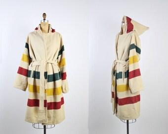 Vintage Hudson's Bay Striped Hooded Coat / Oversized Coat / Hudson Bay Blanket Coat / Cape / Belted Coat / Vintage Cape /