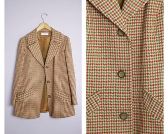 Vintage 1970's Pendleton Burnt Orange + Green Houndstooth Plaid Wool Coat Jacket L/XL