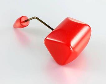 Cherry Bakelite Jabot Pin, Art Deco Bakelite Brooch Stick Hat Pin , 1930s jewelry