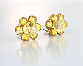 Venetian glass Earrings, Silver Gold Foil Bead Murano Cluster Earrings, Clip on Pale yellow, vintage Italy jewelry