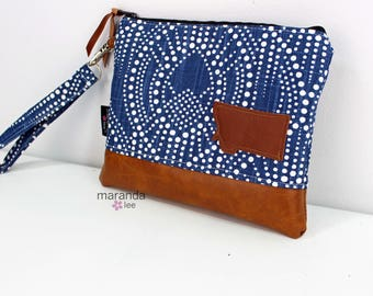 Flat Clutch Large Alyssa Blue with MT Patch PU Leather READY to SHIp