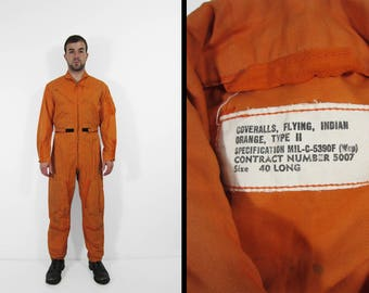 Vintage 60s US Navy Coveralls Indian Orange Flying Jumpsuit Military One Piece - Size 40 L