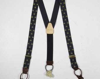 Brooks Brothers Braces Silk Suspenders Golden Fleece Navy Blue NOS