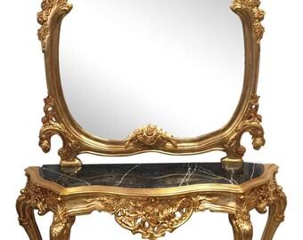 Gilt Rococo Marble console and mirror. Interior Design. Prop stylist. Fig House Vintage. Atlanta interiors.