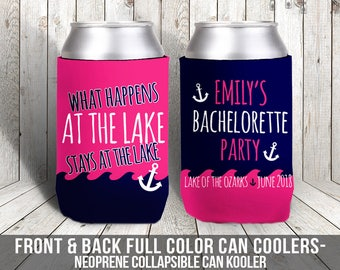bachelorette party / bachelor party can coolers, beverage insulators for wedding bachelor parties  lake bachelorette party MCC-009