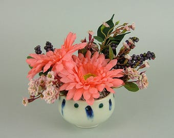 Handmade pot with Artificial Plants / Small White Bowl with Orange African Daisy / Gerbera and Miniture Roses