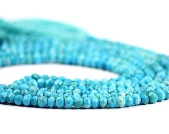 Turquoise Micro Faceted Rondelles Set of 12 Blue Semi Precious Gemstones