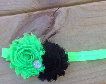 Black and lime Green Headband