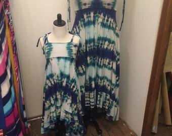 Reserved for Wendy Jo - Midi length dress in Blue tie dye print
