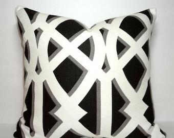FALL is COMING SALE Elton Black Trellis Print Pillow Cover Decorative Geometric Design Pillow Cover 18x18