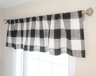 Curtain Valance Topper Window Treatment 52x15 Anderson Plaid Buffalo Check Valance Black and White