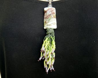 Lavender and Green Garden Lampwork Pendant Necklace OOAK INBW